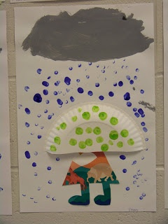 Mrs. Eileens Class: Walking in the rain craft Use half a paper plate for the umbrella, finger paint raindrops, use scraps to make body. So cute