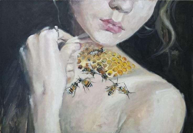 oil painting of beautiful honey bees inside a girl, 100x70cm, oil on canvas, 2017