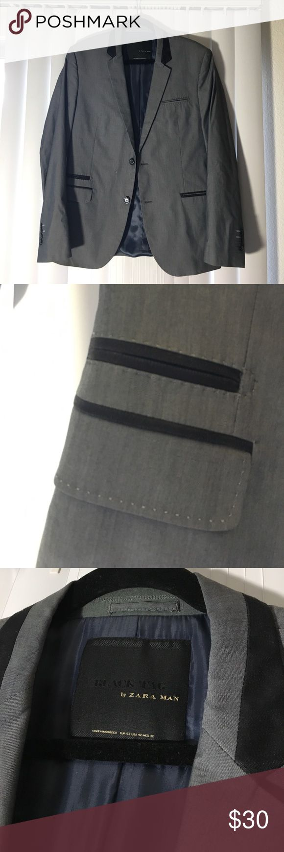 Black Tag By Zara Man Blazer - size 42 2 inner pockets. 27 in long arms from shoulder to wrist end. 18in wide back. 29in long. Zara Suits & Blazers Sport Coats & Blazers