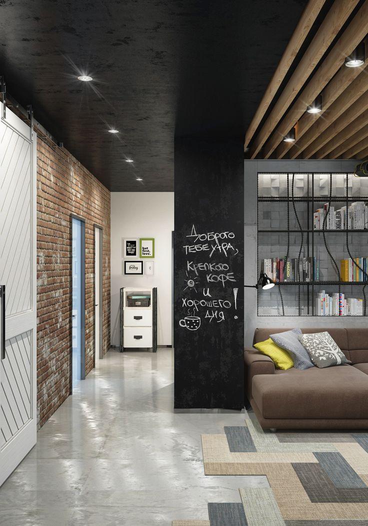 Главная Дизайн, Уникальный Классная доска стены идеи и открытые деревянные потолочные балки ~ Высокий творческий Чердаки, пригодный для стильных художников