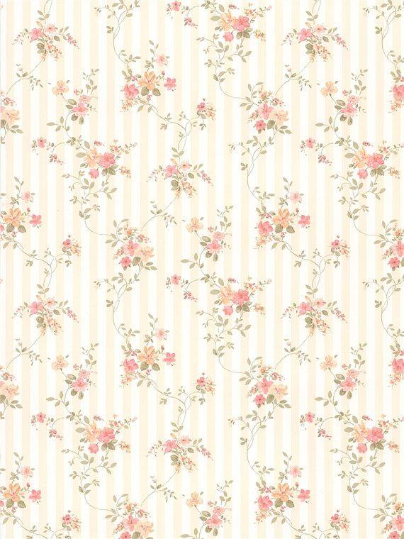 sweet floral on light beige stripe