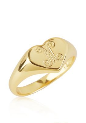Argento Vivo  M Initial Heart Signet Ring in 18k Yellow Gold over Ster
