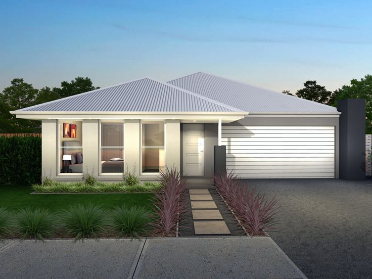House illustrating many of Googong's design guidelines. Garage doors back from main line of the house, entrance area under a wide 'useable' entrance portico, 'vertically proportioned' windows, articulated facade, hipped roof with 450mm wide eaves.