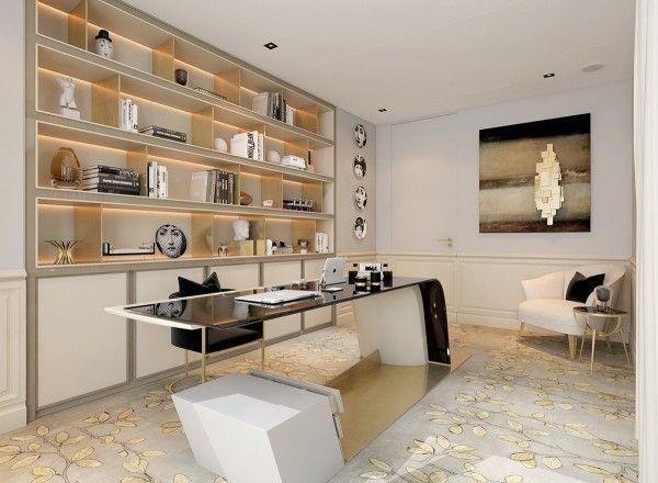 Auriu pentru decorul biroului de acasa. #decorbirou, #amenajaribirouri