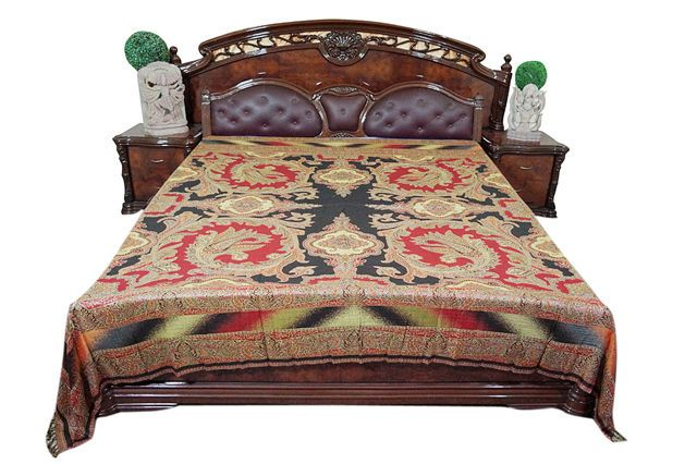 MOROCCAN BEDDING PASHMINA WOOLEN RED BLACK PAISLEY BEDSPREAD BED COVER KING SIZE #Mogulinterior #Asian
