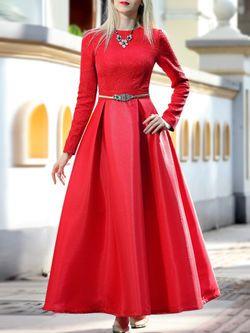 Jacquard Solid Color Maxi Dress