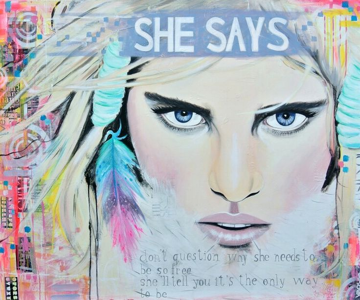 SOLD 'She says' a mixed media painting http://shop.janetedens.nl Janet Edens