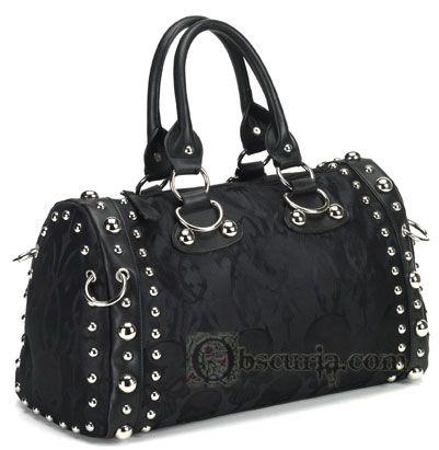 Black Skull Satin Gothic Handbag Purse