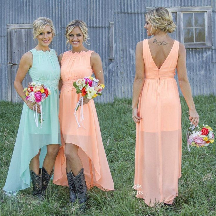 2016 Mint Orange High-low Bridesmaid Dresses Under 100$ Chiffon Maid of Honor Dresses A-Line Crew Appliques Pleated Short Party Dresses Online with $691.1/Piece on Allanhu's Store | DHgate.com