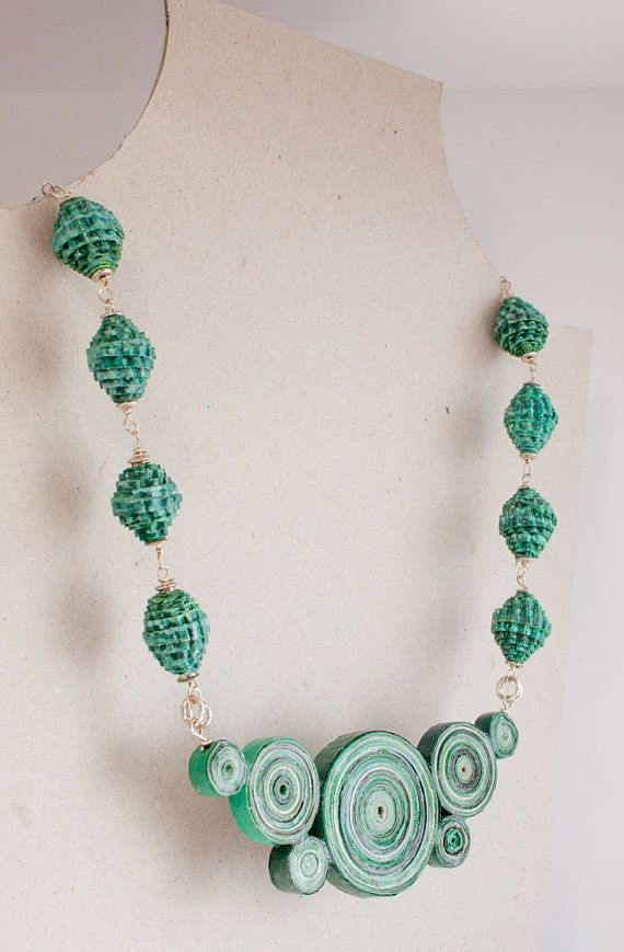 Handmade recycled paper necklace: Malachite.