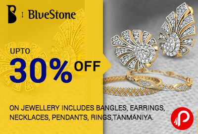 #Bluestone #offers UPTO 30% off on #Jewellery includes #bangles, #earrings, #necklaces, #pendants, #rings, #tanmaniya. Coupon Code: FLAT30 http://www.paisebachaoindia.com/get-upto-30-off-on-jewellery-includes-bangles-earrings-necklaces-pendants-rings-tanmaniya/