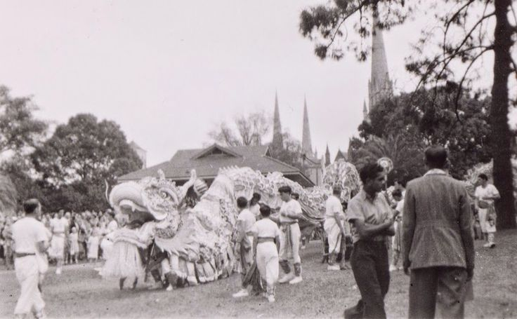 Melbourne's Chinese Dragon getting ready for the 1945, Mooomba Parade…