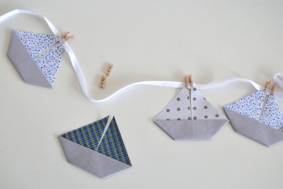 Classical sailor garland, boat banner, blue, grey, navy fabric nautical bunting