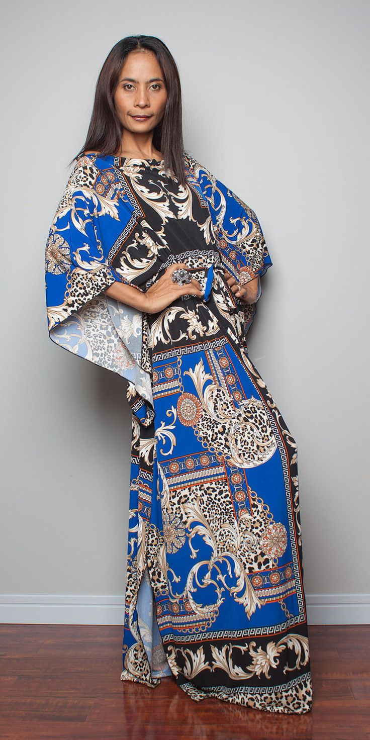 Boho Maxi Dress  Long Wide Sleeve Graphic Tube Gown  by Nuichan, $59.00