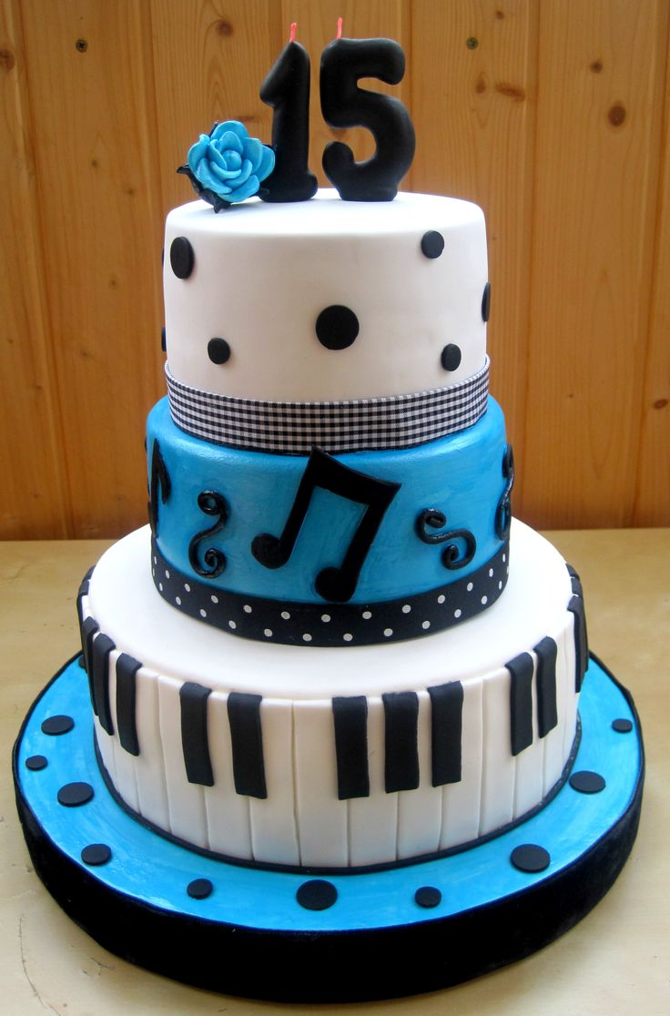 Blue Quinceanera Cake Ideas | Pastel | Blue and White Cake with Black Polka Dots | Music Theme Party Ideas | Birthday Cake Ideas #quinceanera