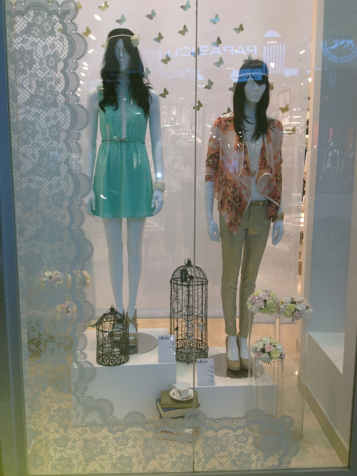 #window #display #spring #fashion #edgy #pastel #lace #birds #chic #trendy #2013 #ladydutch #carrefourlaval #montreal #canada