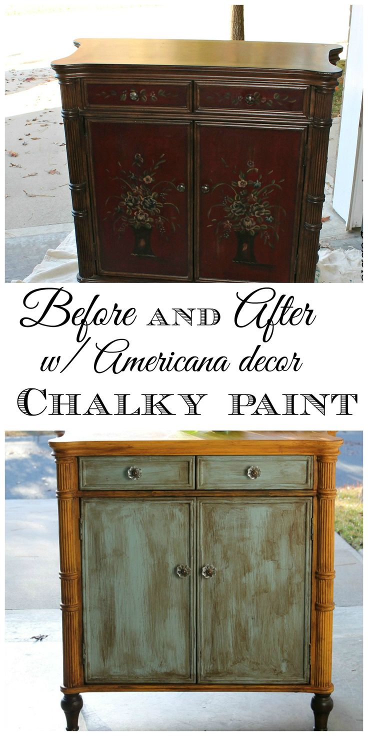 Before and after with #DecoAmericana #chalkypaint, #homedepot. My review for @DecoArt Inc.