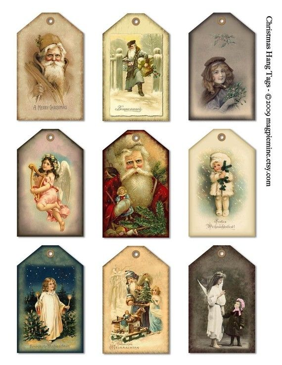 A collage sheet of nine vintage-look hang tags for all of your Christmas presents, boxes and bags! Printed on card stock, they make a lovely addition