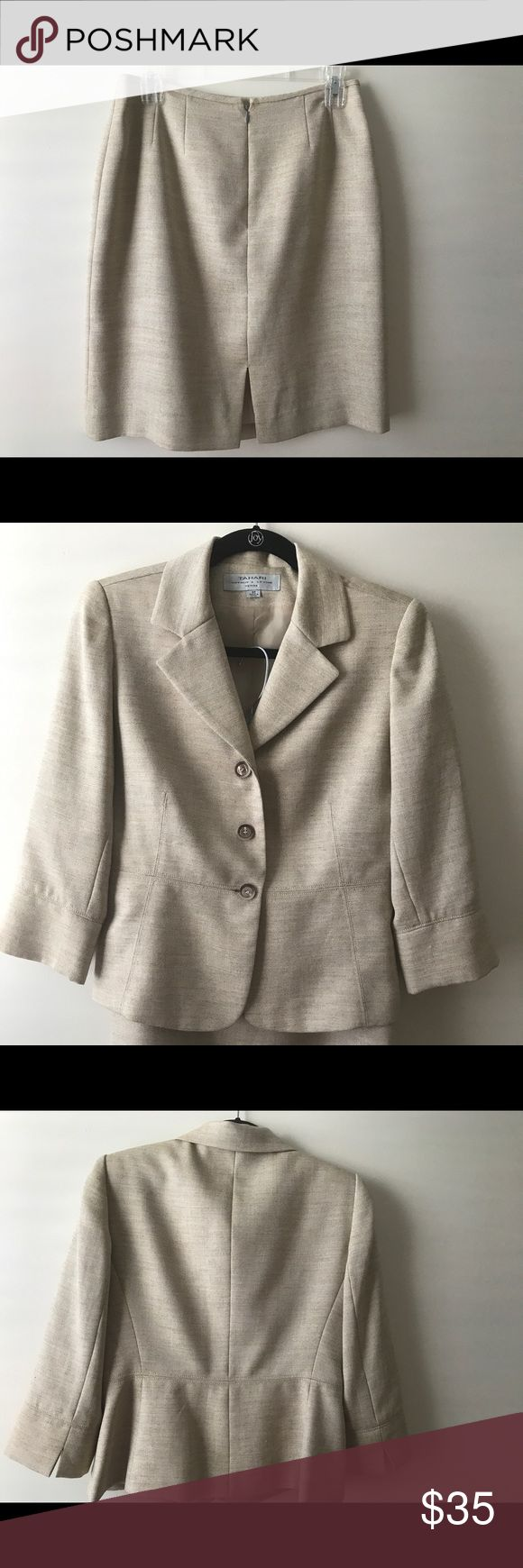 Tahari two piece suit 6 petite Beautiful two piece Tahari cream tweed fully lined suit. Like new condition smoke free size 6 petite. Tahari Other