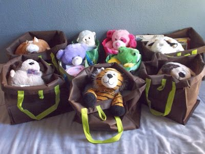 Bedtime Bags for children at shelters, or going into foster care:  Each bag has a stuffed animal, a blanket, a book, and a toothbrush.