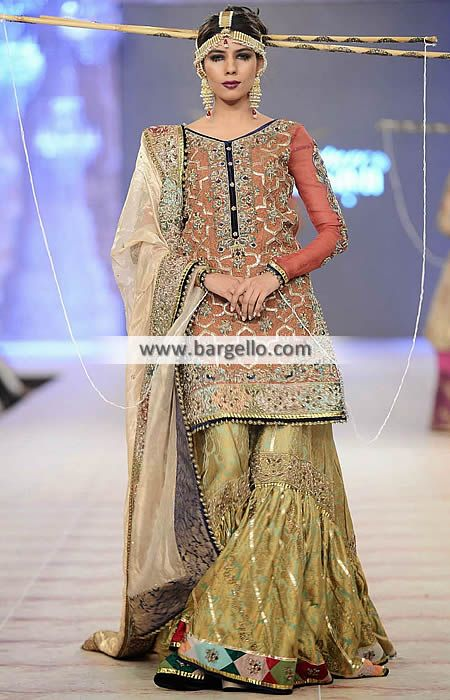 Elegant Bridal Gharara Dresses Fahad Hussayn Bridal Gharara Collection PBCW 2014 D4996 Bridal Wear