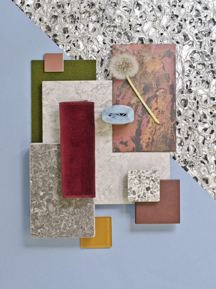 Weekly material mood 〰 Textured Aluminium and Mottled Copper #velvet…