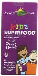 Amazing Grass Kidz SuperFood Powder, Wild Berry Flavor, 15-Count Packets