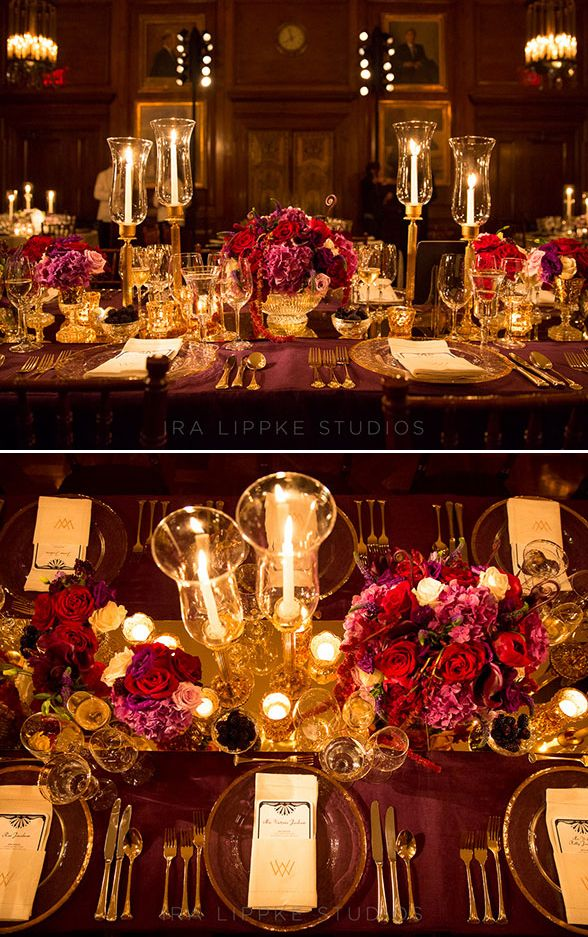 The Colin Cowie team use rich plum and dark burgundy to bring out the beautiful autumnal colors of New York. Wedding Reception, Tabletop Design, Centerpiece