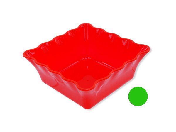 """Decorative Square Plastic Bowl, 24 - Great for a variety of uses, this stylish and colorful plastic square bowl can be used as a candy dish, drawer organizer or even as a catchall for keys and change. Its fun style makes it perfect to keep out for parties or all year long. Measures approximately 5"""" x 2"""" x 5"""". Comes in red and green. Comes packaged in a poly bag.-Colors: green,red. Material: plastic. Weight: 0.141/unit"""
