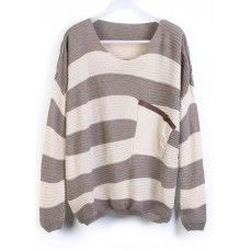 Grey Stripes Loose Sweater with Pocket.