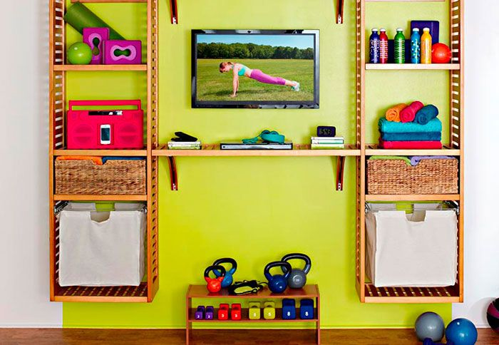 Create an organized home gym with a closet organizer. Don't give up on that new years resolution!
