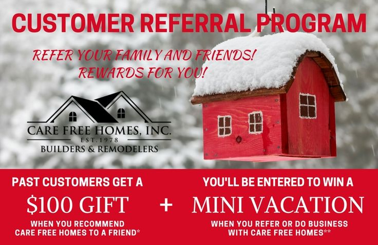 Care Free customers can take advantage of our Customer Referral & Rewards Program! Earn $100 VISA card and be entered to WIN a weekend getaway! Learn more!