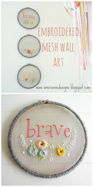 Gorgeous Floral Embroidery Hoops stitched on mesh fabric!