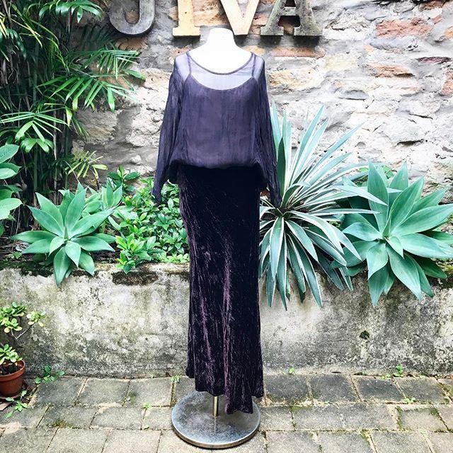 This gorgeous bias cut silk velvet skirt now in store and online...#silkvelvet #biascut #fulllength #skirt #chocolate #emeraldgreen