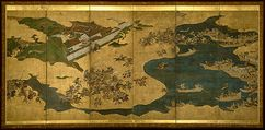 Battle of Yashima - With the onset of the Battle of Yashima, this gold gilded paper treasures one of the richest moments between the Minamoto and Taira.  Illustrated on panels 4-6, the famous Yoichi takes up the challenge of striking the fan to preserve the pride of the Genji.  The Taira wail in retreat as Yoshitsune's forces overwhelm the shores, already deciding the tide of battle.  - J Barro.