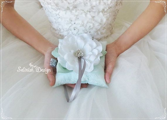 Mint Green Ring Bearer Pillow Personalized by SelinishDesign