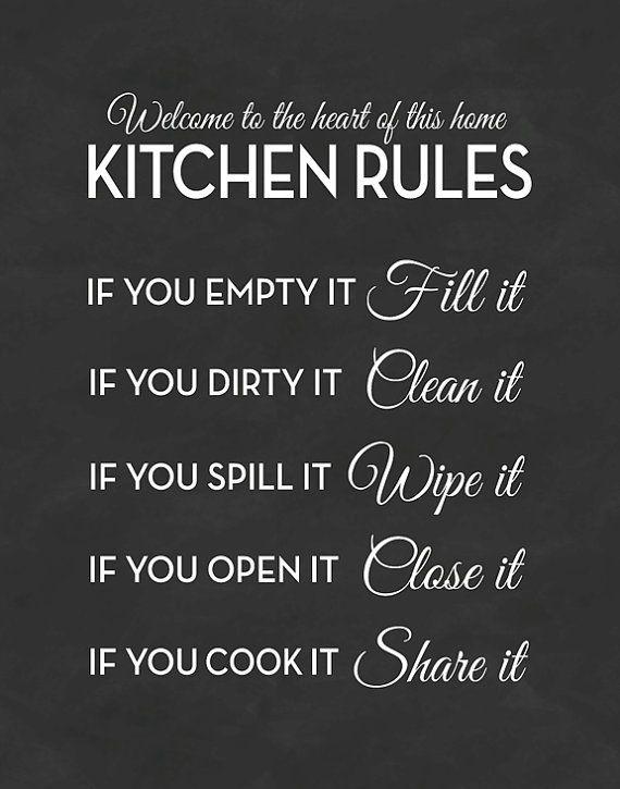 Kitchen Rules Print Chalkboard Sign Poster By Letteredandlined