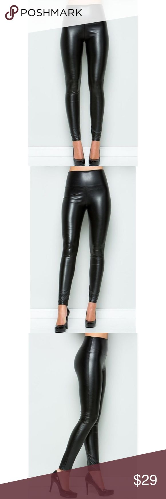 🆕 Black Wet Look High Waist Faux Leather Leggings New with tags. Super soft and comfortable while still fashionable. Pair with a chunky sweater and boots for the perfect look.                                                                        🌸95% polyester, 5% spandex.                                                                ❌SORRY, NO TRADES. The O Boutique Pants Leggings