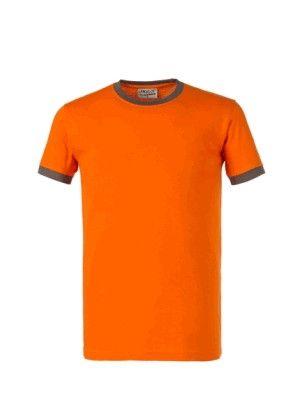 Maglia T-Shirts Cotone 150 g Manica Corta 10 Pezzi Arancio Gri.