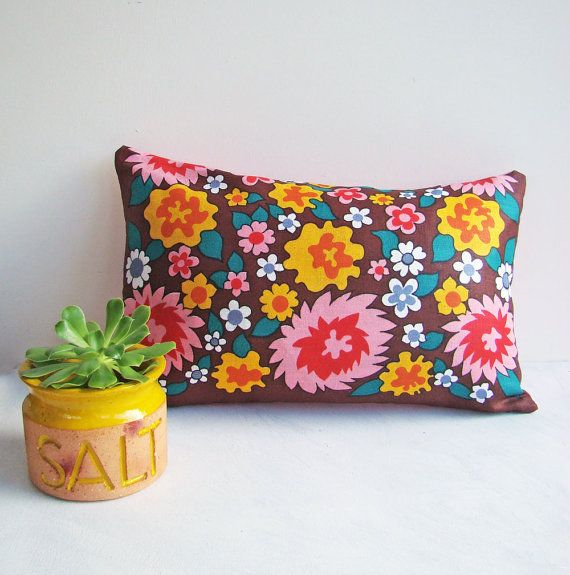 Funky Cushion Cover in Vibrant Colours, Retro Pillow,  Bright and Colorful, Lumbar Style, Hot Pink and Yellow