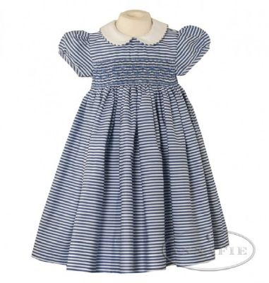 01NavyAmelie ANNAFIE Beautiful fully lined Navy/White Smocked fully lined 100% Cotton Dress, Available 8yrs