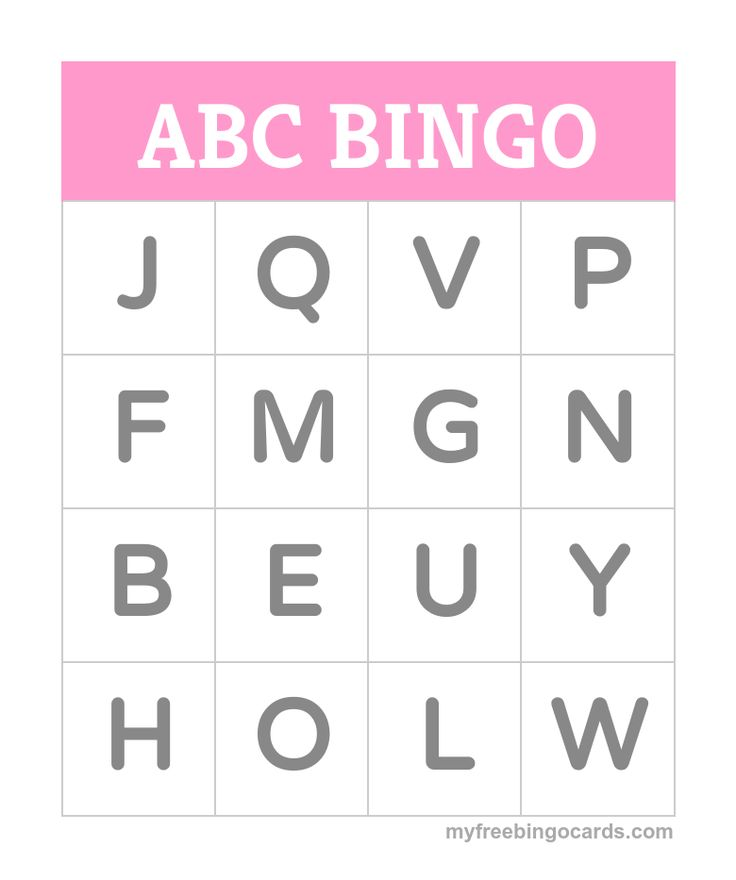 Kids ABC alphabet bingo card generator