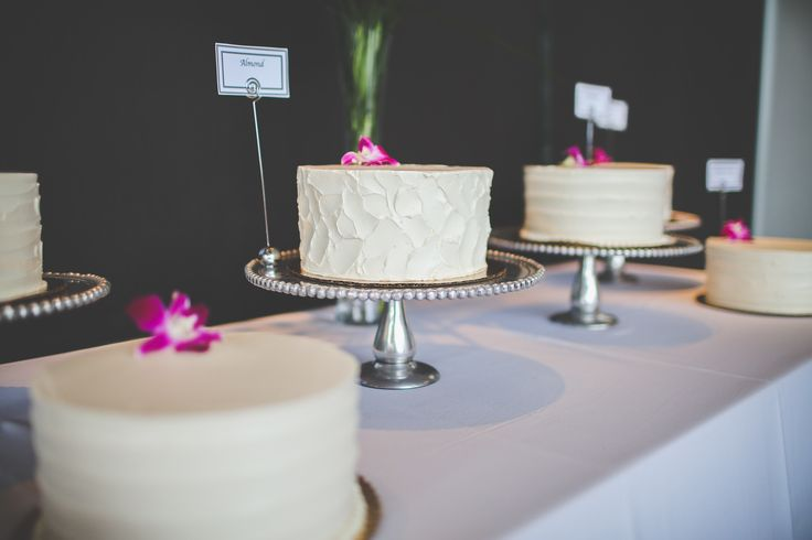 Different wedding cakes with all different flavors | Wedding Ceremony at The Bridge Building in Nashville, Tennessee | Southern Wedding | Tropical Wedding Theme | Exotic Florals | Bride | Groom | Event Planning Business | Event Planner