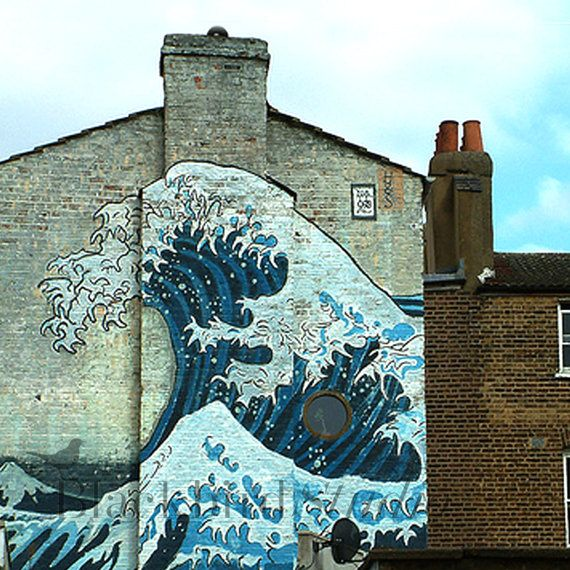 Hokusai Great Wave Mural Camberwell London  by blackbirdphotoUK, $15.00