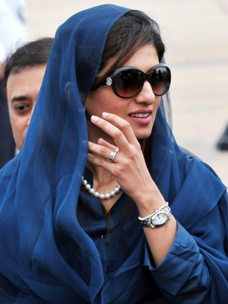 Hina Rabbani Khar (b.19 Nov 1977)  is a Pakistani stateswoman and economist who was the 26th Foreign Minister of Pakistan. Her father is Nur Rabbani Khar and she is the niece of Ghulam Mustafa Khar, former Governor and Chief Minister of Punjab, and cousin of model and actress Aaminah Haq.