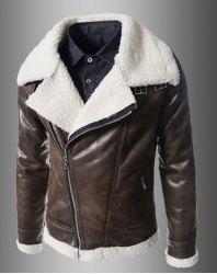Modern Style Fur Collar Slimming Inclined Zipper Fly Solid Color Long Sleeves PU Leather Coat For Men (BROWN,XL) | Sammydress.com Mobile