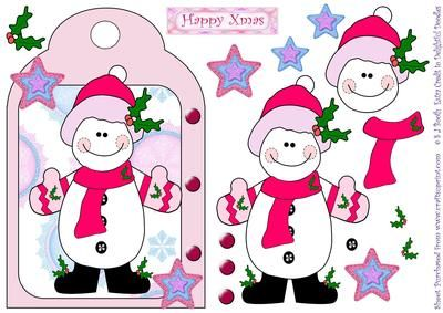Christmas Snowgirl in Pink shaped card front with decoupage.
