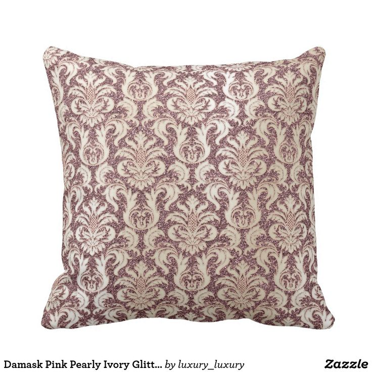 Damask Pink Pearly Ivory Glitter Pearly Floral Cushion