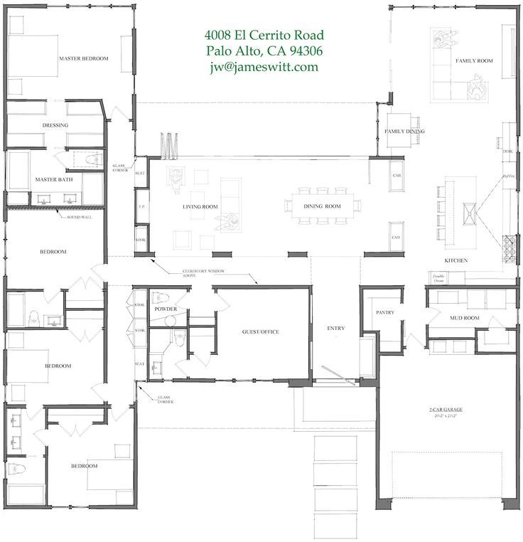 Interesting Single Story Floor Plan Single Story Modern House Plans Cost Efficient House Pl 4 Bedroom House Plans U Shaped House Plans House Plans One Story