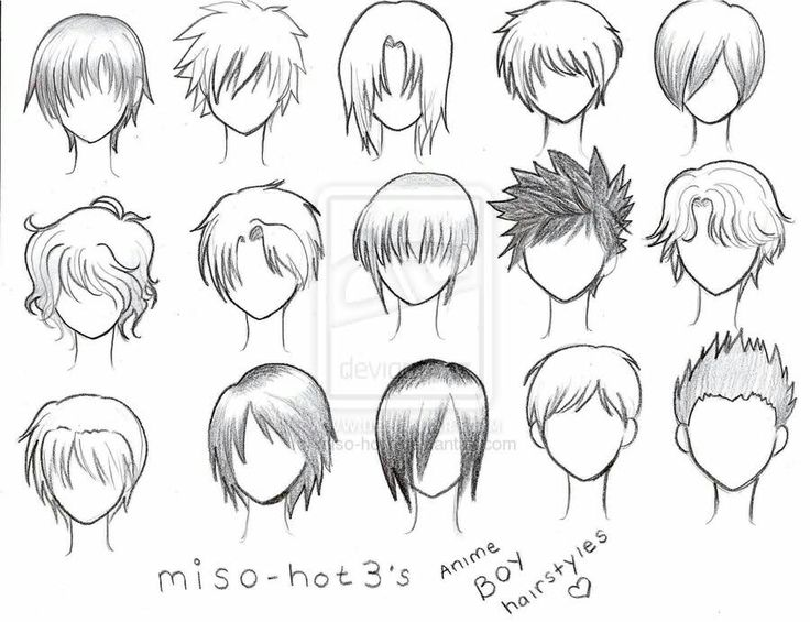 Anime boy, hairstyles, text, male; How to Draw Manga/Anime